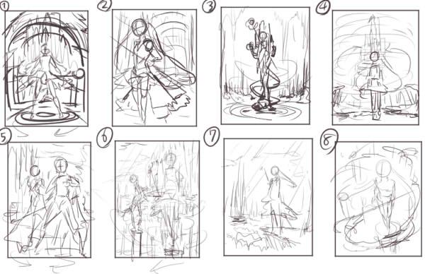 構図が大体決まってきたら登場させるキャラクターをひたすら考えます。  「魔法」がテーマなので魔法使いの男の子と女の子をイメージで衣装や杖のデザインをシルエット